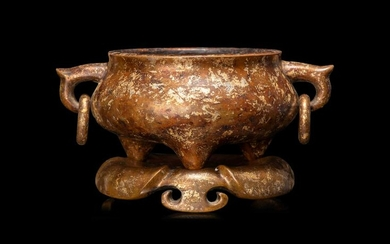 A Chinese Gold-Splashed Bronze Incense Burner and Stand