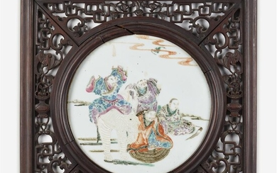 "A Chinese famille rose-enameled porcelain ""Sages and Elephant"" plaque..."