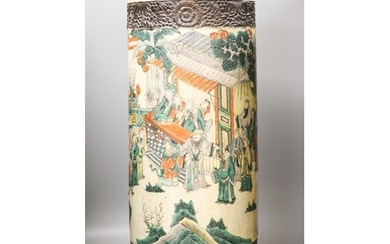 A Chinese famille verte crackle glazed stick stand, c. 1900,...