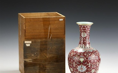 A FAMILLE ROSE LOTUS SCROLL VASE WITH WOODEN BOX