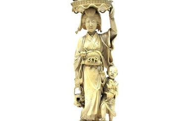 A Japanese Meiji Period Tokyo School Ivory Figure, carved as...