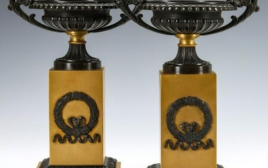 A PAIR EARLY TO MID 20TH C. BRONZE OR BRASS TAZZA PAIR