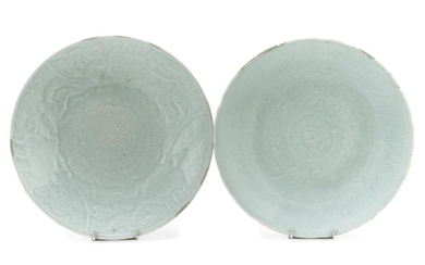 A PAIR OF CHINESE CELADON DISHES LATE 19TH EARLY 20TH CENTURY.