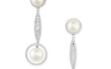 A PAIR OF CULTURED PEARL AND DIAMOND EARRINGS each