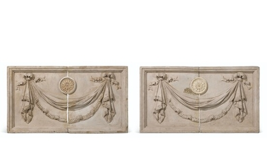 A PAIR OF GEORGE III COADE STONE RELIEF PANELS FROM PHILLIMORE PLACE