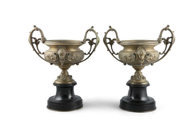 A PAIR OF VICTORIAN BRONZE AND BLACK MARBLE...