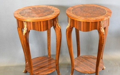 A Pair of French style occasional tables each with an inlaid...