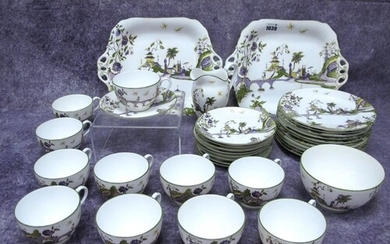 A Royal Worcester Porcelain Part Tea Service, decorated in t...