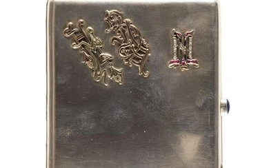 A SILVER CIGARETTE CASE WITH CAR, DOG AND MONOGRAMS