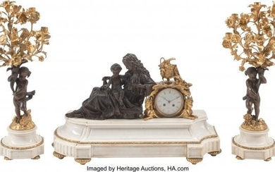 A Three-Piece French Gilt and Patinated Bronze F