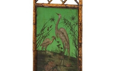 A Victorian Bamboo and Painted Glass Fire Screen