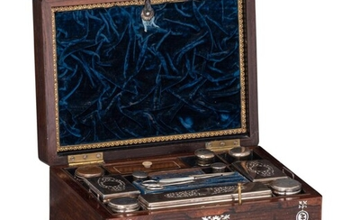 A Victorian rosewood and mother-of-pearl inlaid ladies vanity box, H 17 - W 30,5 - D 23 cm