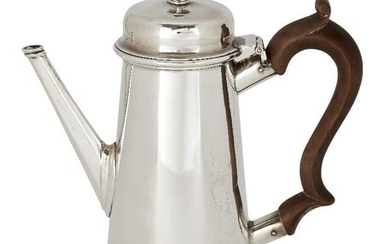 A Victorian silver bachelor's coffee pot, London, c.1887, John Aldwinckle & Thomas Slater, of tapering cylindrical form, with wooden scroll handle and hinged lid, 18cm high, approx. weight 12.1oz