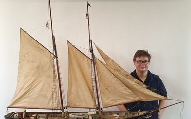 A large painted wood model of a schooner, the Fruit Girl out...
