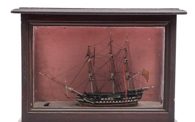 A late 19th/early 20th century cased waterline model of a fr...