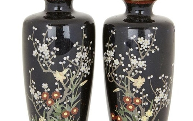 A pair of Japanese cloisonné vases, Meiji period, decorated with flowering prunus blossom amidst a variety of other floral blooms, 11.5cm high (2)