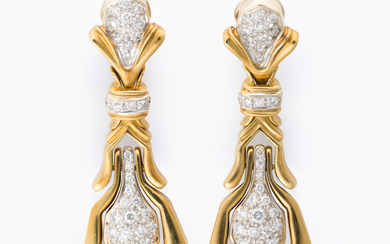 A pair of diamond and gold pendant pendant earrings
