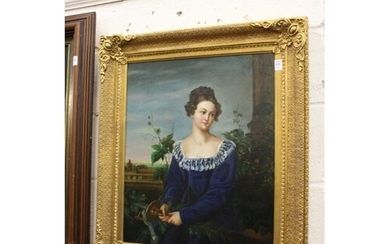 A portrait of a young lady wearing a blue dress, oil on canv...
