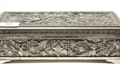A silver plate dressing-table box, in the Persian or Indian...