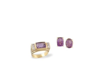 AMETHYST AND GOLD RING WITH A PAIR OF DIAMOND AND GOLD EARRINGS