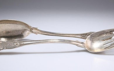 A PAIR OF VICTORIAN SILVER SALAD SERVERS, by