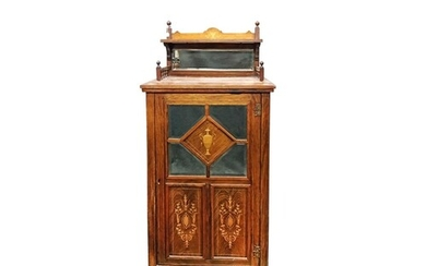 AN EDWARDIAN INLAID ROSEWOOD TWO TIERED MIRROR BACK MUSIC CA...