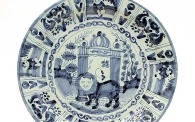 An 18th century Delft blue and white plate