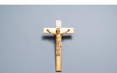 An Indo-Portuguese ivory figure of Christ on a later crucifi...