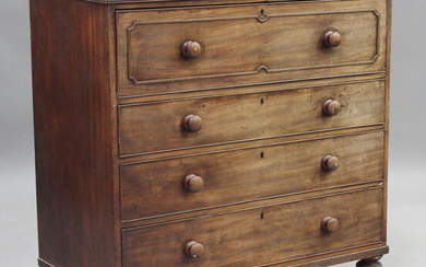 An early Victorian mahogany secrétaire chest of four oak-lined drawers, on turned feet, height