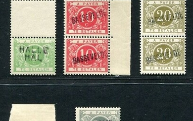 Belgium 1895/1919 - Complete series of Surcharge postage due stamps with the mention of the issuing office - OBP/COB 3A-5A-6A-7A-9A-11A in PAAR