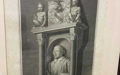 British writers and actors. Collection of prints and engravings, including:Shakespeare's Monument