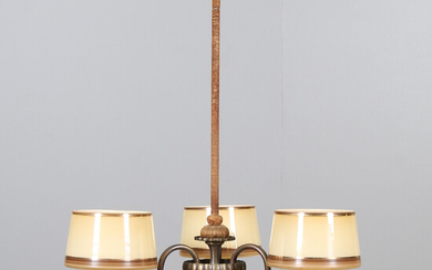 CEILING LAMP, patinated metal, glass, 20th century.