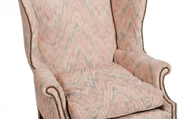 CHIPPENDALE-STYLE WING CHAIR WITH OTTOMAN