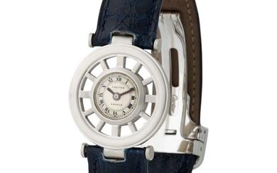 Cartier. Fine and Charming Round Squelette Gouvernail-Shape Wristwatch in White Gold, With Two-Tone Silver Dial and Roman Numbers
