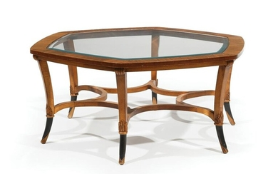 Carved and Parcel-Ebonized Walnut Low Table