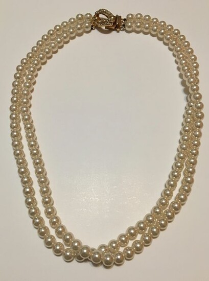 Cascio - 18 kt. Freshwater pearls, Yellow gold - Necklace - 0.02 ct Diamond - Pearls, 8.0 mm