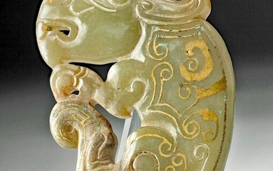 Chinese Han Dynasty Nephrite Dragon w/ Gold Details
