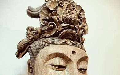 Chinese Wood Carved Guanyin Head