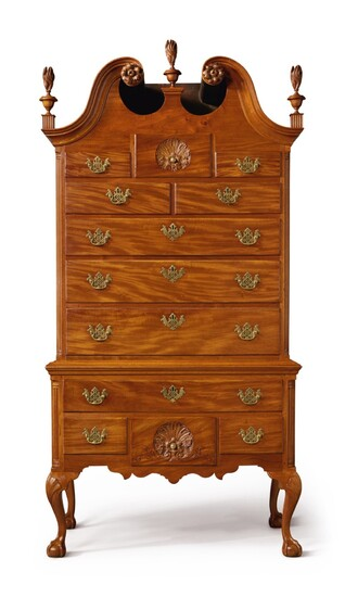 Chippendale Carved and Figured Mahogany Bonnet-Top High Chest of Drawers, case attributed to William Wayne (w. 1756-1786); carving attributed to 'Nicholas Bernard' and Martin Jugiez, Philadelphia, Pennsylvania, circa 1760