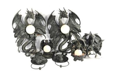 (-), Collection of bronze colored plastic dragon lamps...