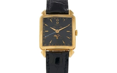 Cosmic, Ref. 3944 Yellow gold triple calendar wristwatch with moon phases Circa 1951, Omega