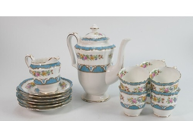 Crown Staffordshire floral decorated coffee set: 14 pieces.