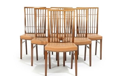 NOT SOLD. Danish cabinetmaker: A set of six walnut chairs with copper pins in the...