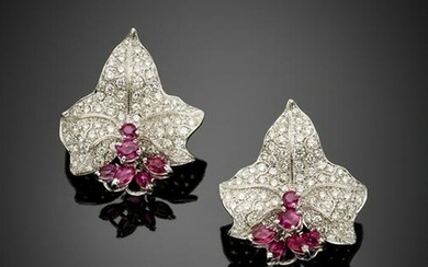 Diamond and ruby white gold leaf earrings, diamonds in