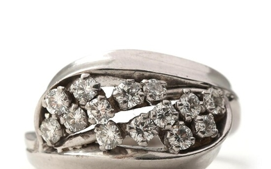NOT SOLD. Diamond ring set with numerous brilliant-cut diamonds totalling app. 0.70 ct., mounted in 18k white gold. Size 53. – Bruun Rasmussen Auctioneers of Fine Art
