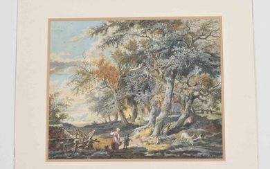 Dutch school, 19th century. (View of a forest with figures and sheep)