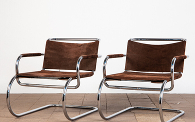 FRANCO ALBINI, RENATO CAMUS UND GIANCARLO PALANTI. Franco Albini, Renato Camus and Giancarlo Palanti, Tecta, two cantilever / lounge chairs, tubular steel, chrome-plated, suede, Germany, design from 1933 (2).