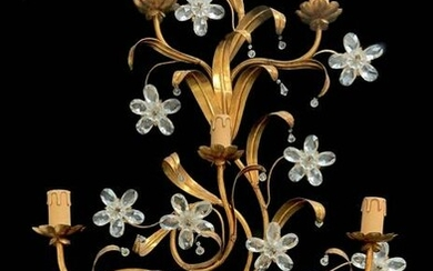 Five-light applique in gold metal and moose crystals