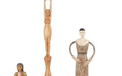 Four Carved and Painted Wooden Folk Art Figures