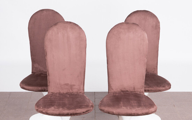 Four chairs / dining room chairs, Alcantara, metal, 1970s (4).